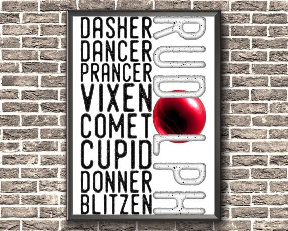 Christmas Printable Decor  Reindeer Name Print  Dasher