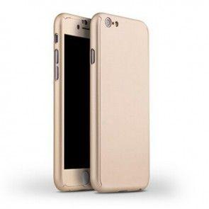 Carcasa iPaky 360 iPhone 74.7, Plastic+Sticla Temperata, Culoare Gold, Protectie Completa Telefon