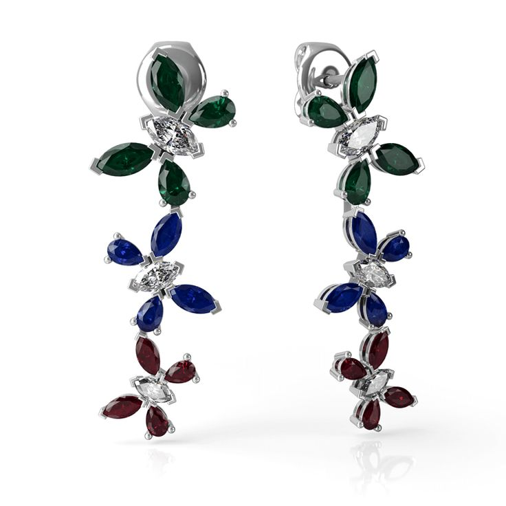 Rain Forest drop earrings made in white gold, marquise and pear cut diamonds, emeralds, sapphires and rubies.