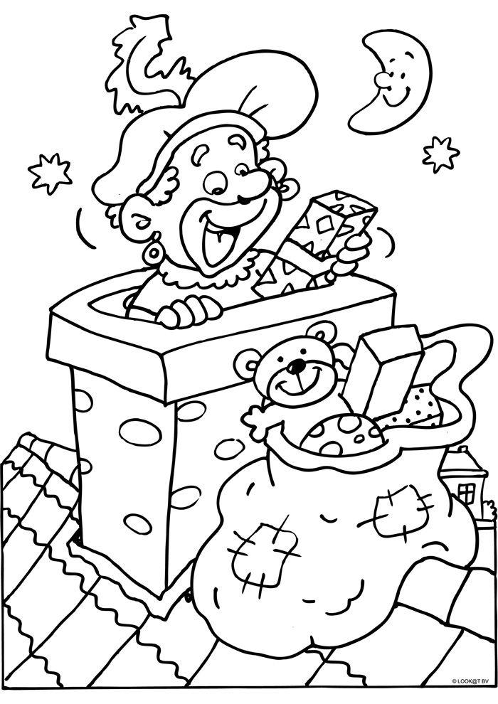 Kleurplaat :Zwarte Piet in de schoorsteen :