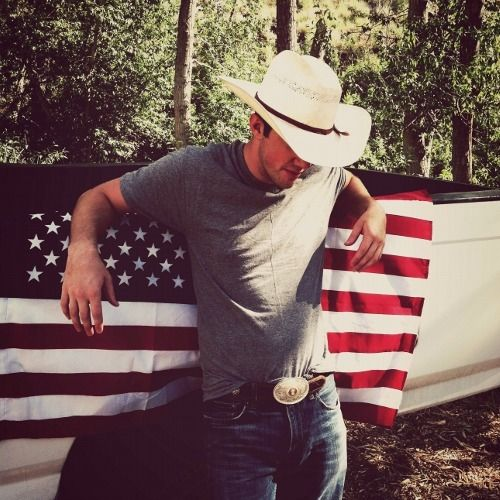 Cowboy and flag outdoors nature hat usa country flag truck cowboy jeans american