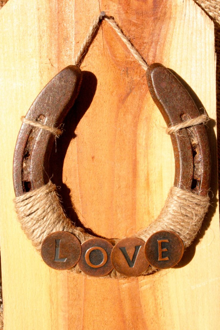 Recycled Horseshoe - Jute string and any accessory added make a very rustic ornament!!!!