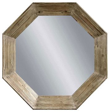 Weathered Grey Octagon Wall Mirror traditional mirrors