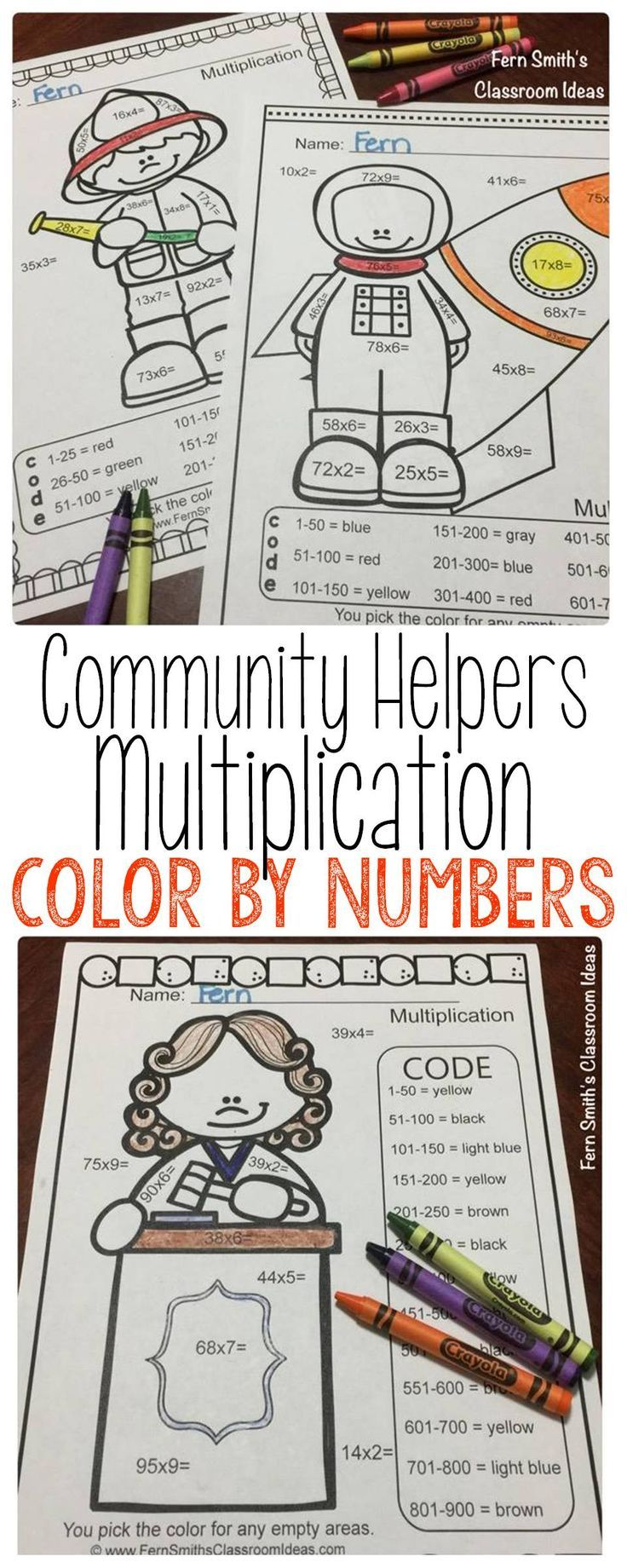 Coloring book for notability - Color By Numbers Careers 2 Digit By 1 Digit Multiplication