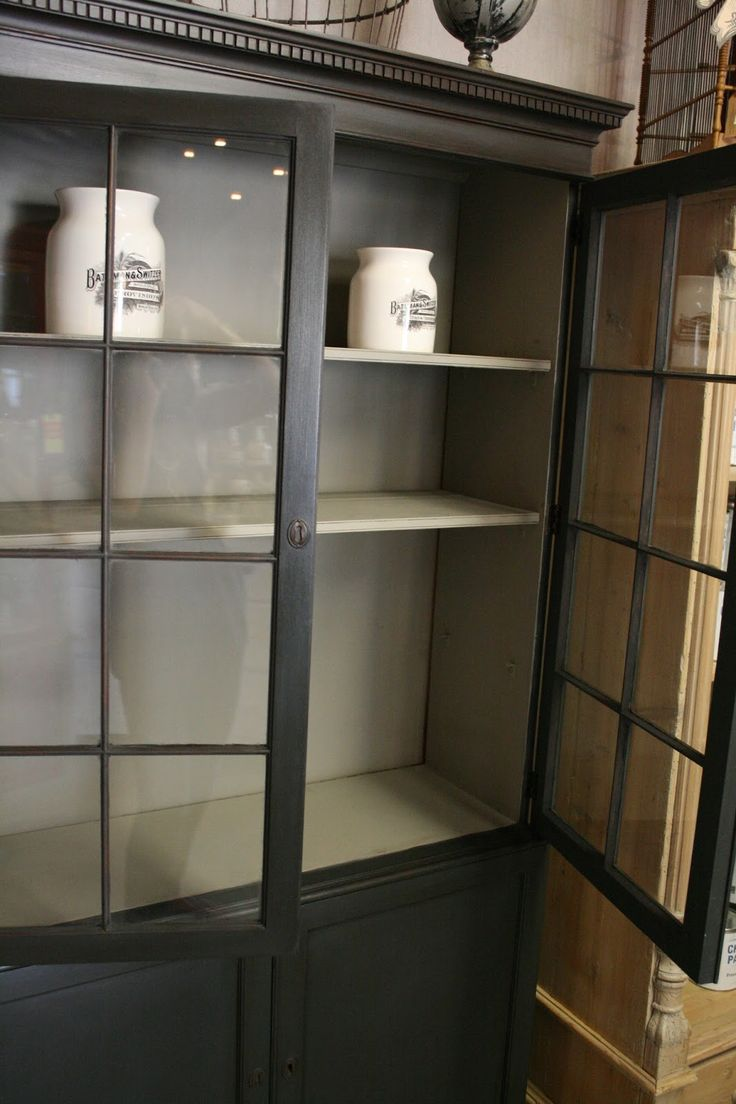 Loot: Chalk Paint® Gallery Antique China Cabinet in Graphite with French Linen interior