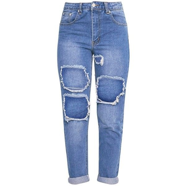Kourtney Light Wash Extreme Rip Boyfriend Jean ($40) ❤ liked on Polyvore featuring jeans, bottoms, pants, destroyed boyfriend jeans, light wash distressed boyfriend jeans, boyfriend fit jeans, blue jeans and destructed jeans