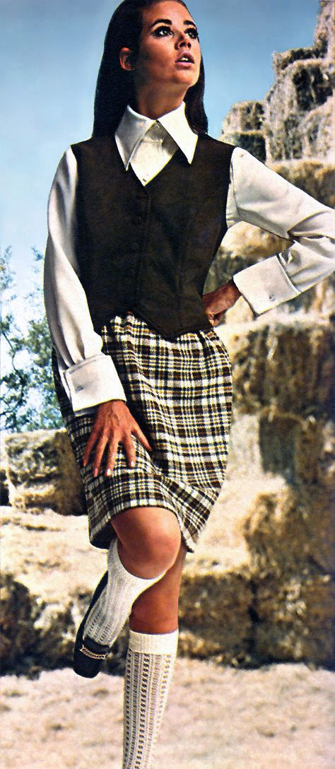 I had outfits very similar to this one in high  school...around 1971.  Plaid skirts were popular, usually with pleats. And knee socks were in style.