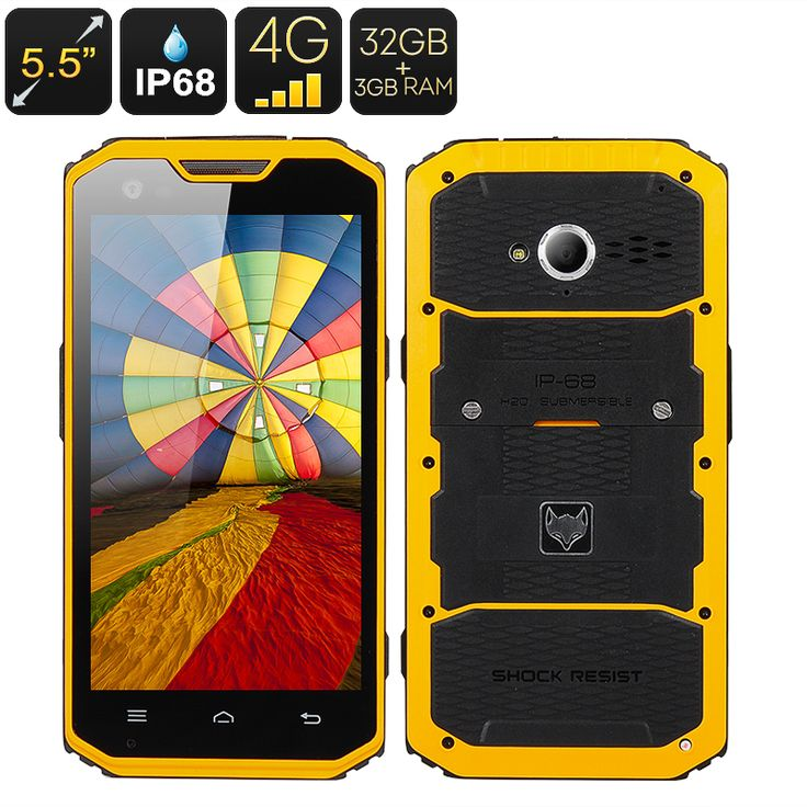 MFOX A7 Pro Rugged Smartphone – 5.5 Inch 1920×1080 Screen, MTK6595 Octa Core CPU, IP68, 4G, Android 4.4, 3GB+32GB (Yellow)
