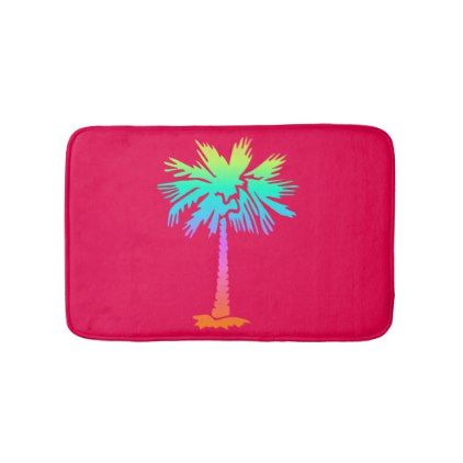 neon palm tropical summer bright colorful pink bath mat - trendy gifts cool gift ideas customize