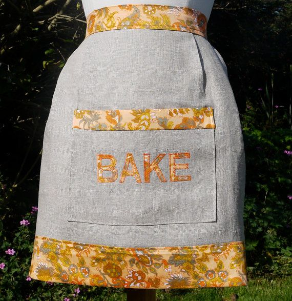 Vintage Inspired Half Apron with Pocket and by HomebirdTextiles, £15.00