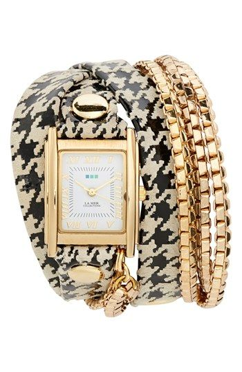 La Mer Collections Square Houndstooth Wrap Watch