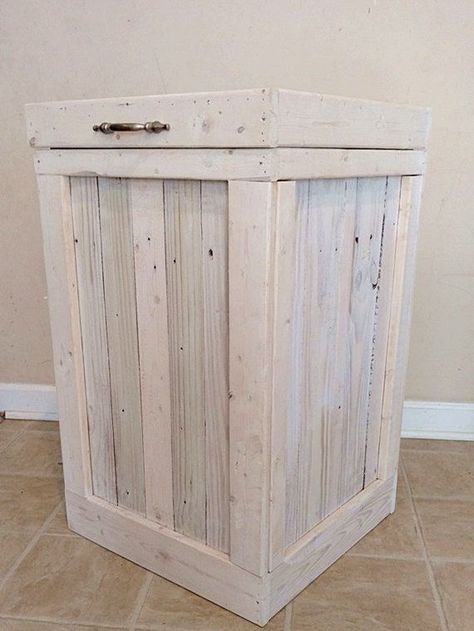 Wood Trash Bin This is a Gorgeous Wood Trash Bin. This Trash Can is made from a mixture of New and Old Woods. We use as much Reclaimed Wood in our products as possible because we want to do our part in this world! A mix of the Old and New Wood adds a wonderful look to this Rustic Trash Can. This Wood Garbage Can has been White Washed to give it a more Rustic and Country feel. I think it has turned out absolutely beautiful! You can order this White Washed Wood Trash Can in 2 different sizes…