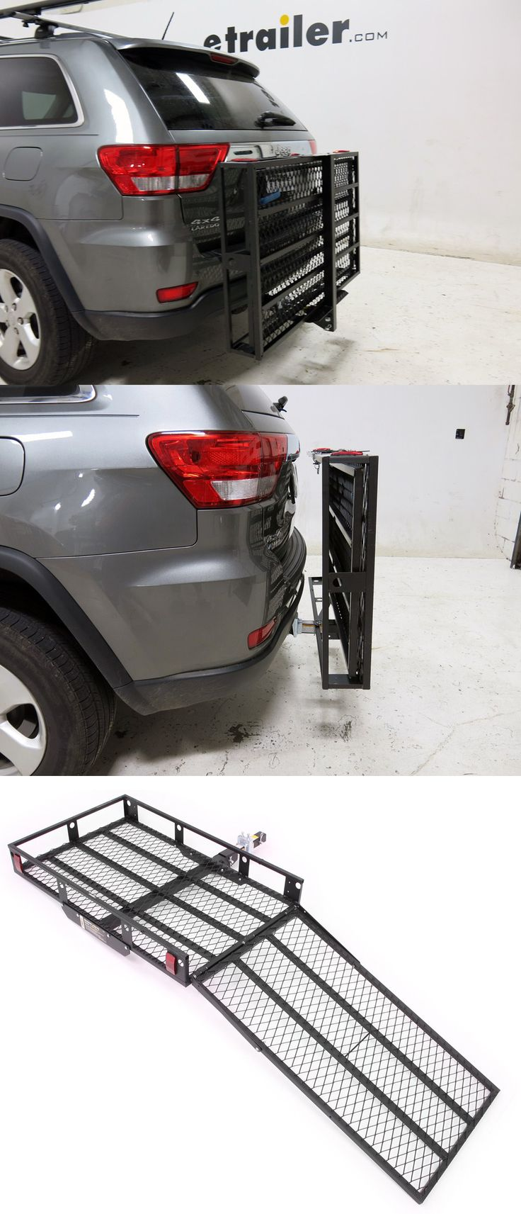 Load or transport a wheelchair or lawn mower with an extra-wide cargo carrier. Compatible with the Jeep Cherokee.
