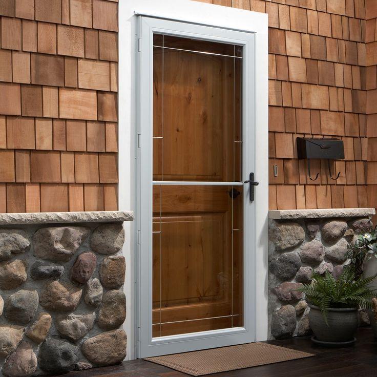 3000 Series Self-Storing Storm Door With Decorative Glass