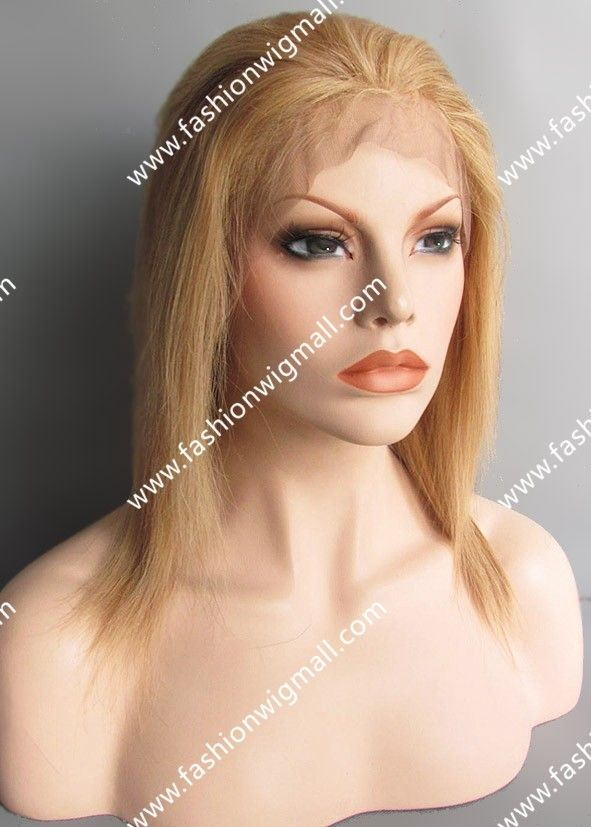 Blonde mix Auburn Silky Straight Human Hair Full Lace Wig  #fulllacewig