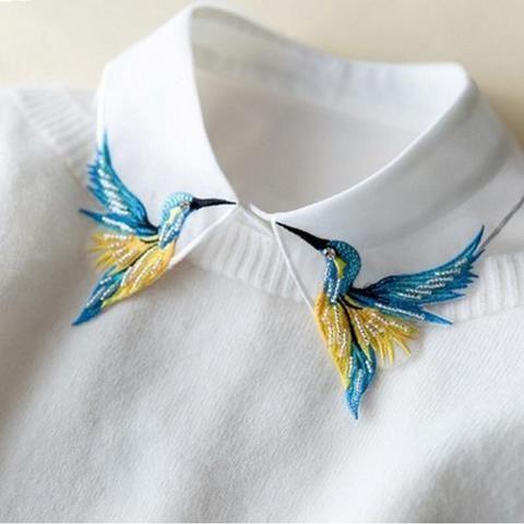 Neu Design Mode Schwere vogel stickerei halskette weste bluse Hemd falschen Kragen hals Frauen Abnehmbare Vertikale Kleine Revers
