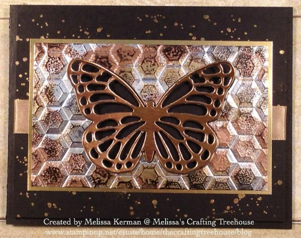 DIY handcrafted card using the Impressions of Tarnished Foil Technique with the Hexagons Embossing Folder, Bold Butterfly Framelits, the Butterflies Thinlits and the Gorgeous Grunge Stamp Set. Created by Melissa Kerman, Stampin' Up! demonstrator since 2003.