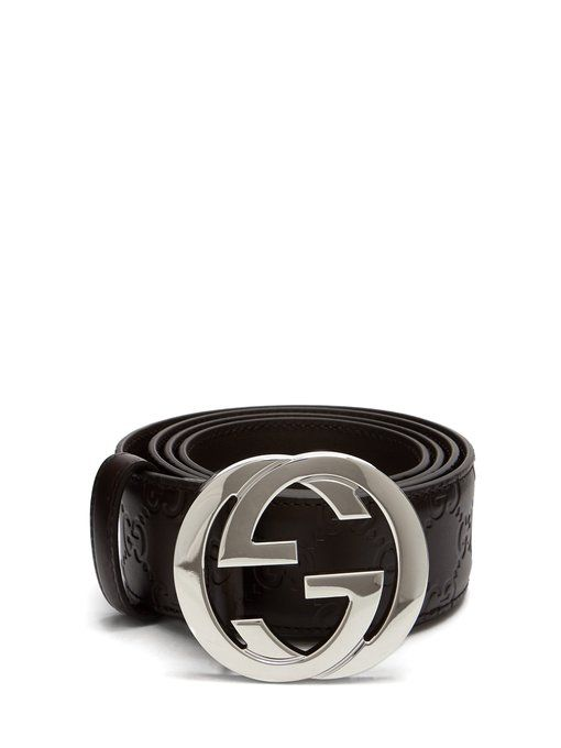 10cf65bdc GUCCI GG-plaque leather belt. #gucci | Gucci in 2019 | Brown leather ...