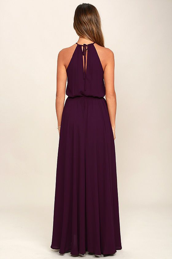 Be the foremost authority in comfy fashion with the Essence of Style Plum Purple Maxi Dress! A tying apron neckline with back cutout tops a drawstring waist, and flowy maxi skirt with side slit.