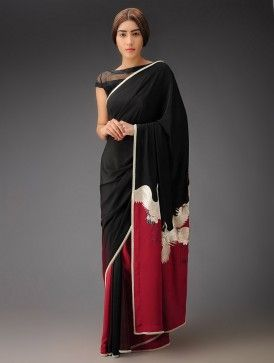 Red-Black Crane Crepe Silk Parsi Gara Saree