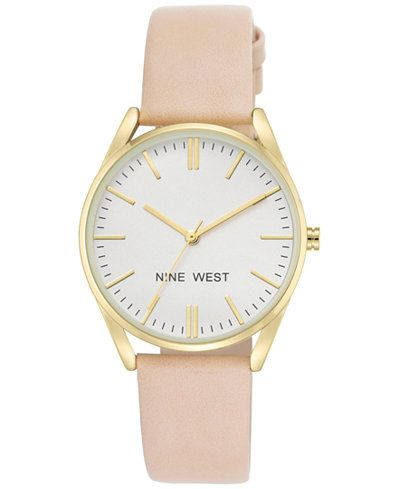 Nine West Women's Pastel Pink Faux Leather Strap Watch 36mm NW-1994WTPK