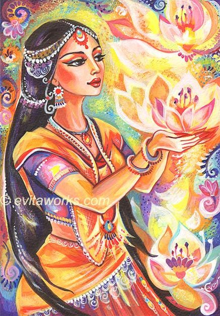 India Goddess Lotus Woman Pray Girl Spiritual Meditation - Pray of the Lotus River - Art Print 5x7. $5.00, via Etsy.