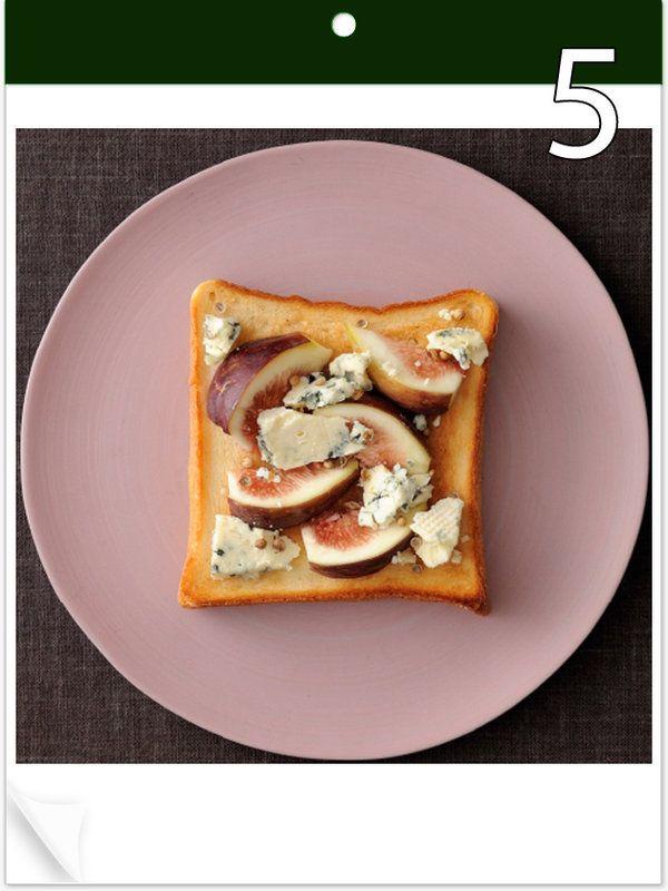9月5日 「いちじくチーズトースト」 【使った材料】いちじく、ブルーチーズ、コリアンダーシード