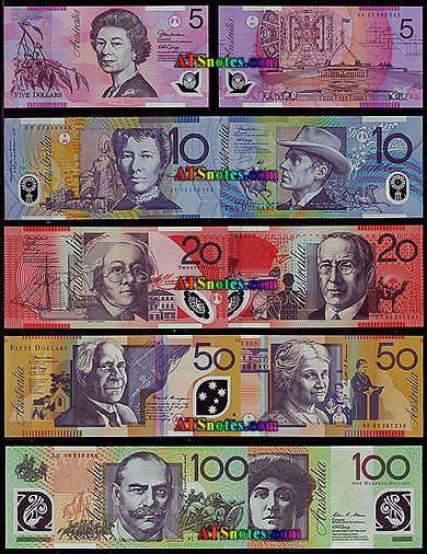Australian money, our money is very colourful and it is not paper!
