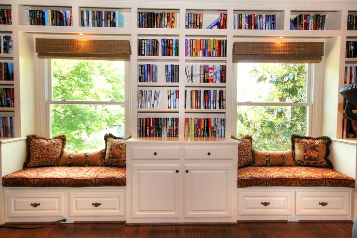Traditional Library With High Ceiling Window Seat The