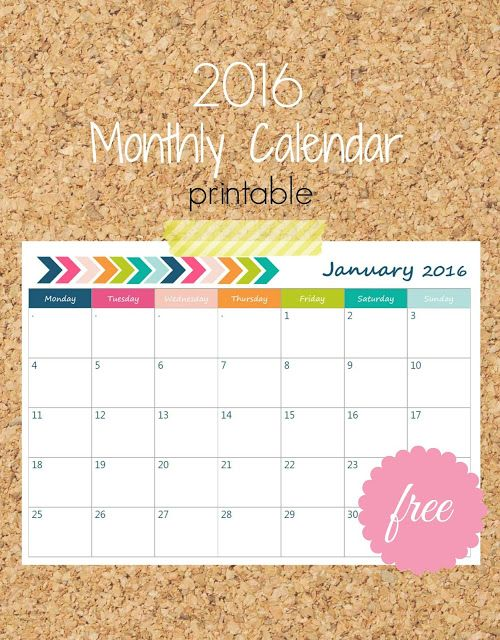Ioanna's Notebook - Free Printable 2016 Monthly Calendar  (vertical & horizontal) in English & Greek: