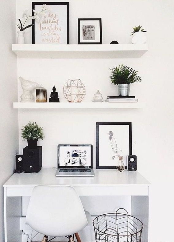 Study Home Office Modern White Desk Open Floating Shelves Above