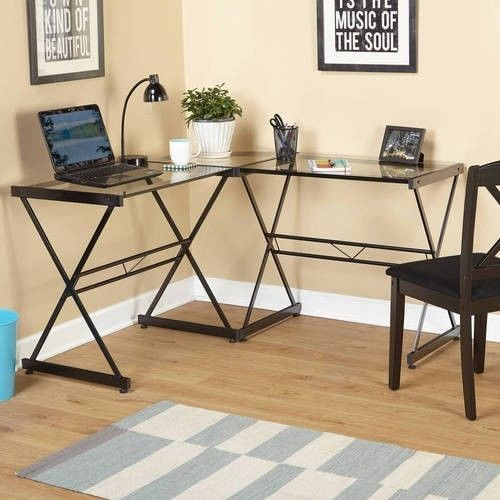 Modern Computer Desk L Shaped Office Home Table Laptop Work Indoors Glass Metal #ModernComputerDesk