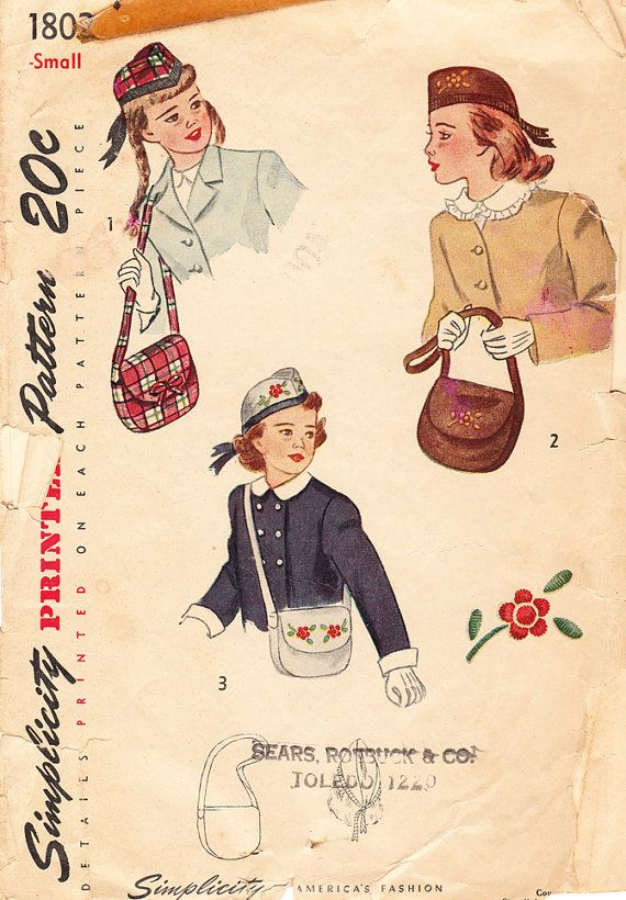 1940's Scottish Hat and Shoulder Bag or Purse for Girls and Tweens - Vintage Simplicity Sewing Pattern No. 1802 - SIze Small on Etsy, $10.00