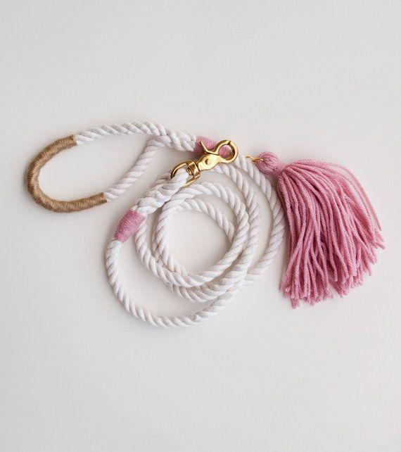 Pink Dog Leash / Rose & Gold / Rope Dog Leash by theAtlanticOcean