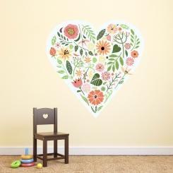 Fiori e Cuori Flowers and Hearts Wall Sticker Adesivo da Muro