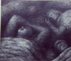 Shows a drawing of swaddled forms lying down, squeezed together. Four grey sleepers, Henry Moore, 1941. © Henry Moore Foundation, courtesy Wakefield Museum & Art Gallery