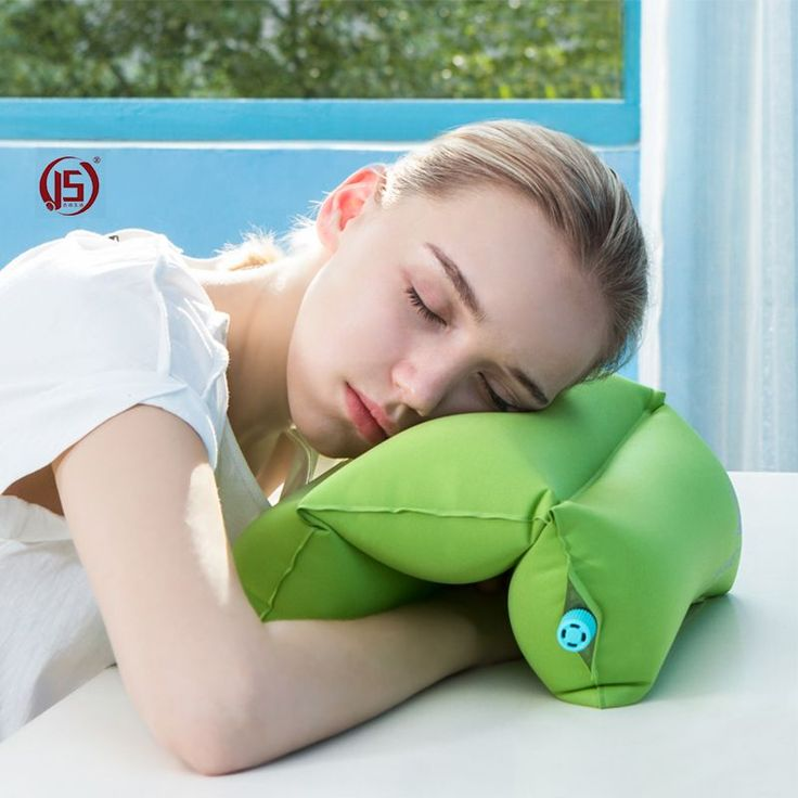 JS Air Pillow Inflatable Neck Headrest Travel Plane Wave Shape Pillow Outdoor Office Nap Relax Foldable Flocking Back Cushion