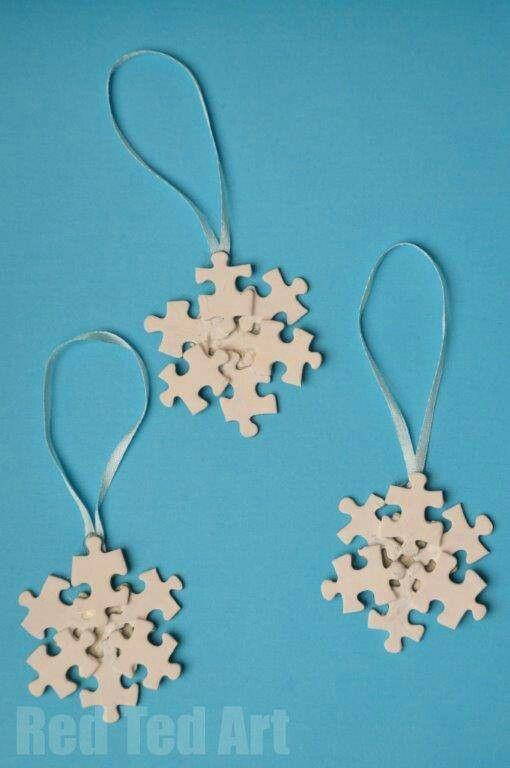 Jig-saw snow flakes