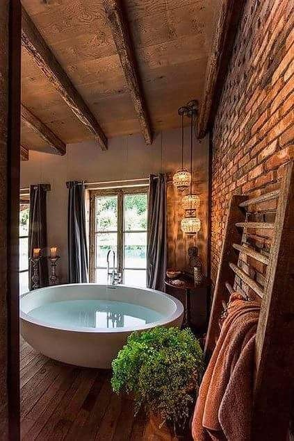Love this rustic bath and spa room!                                                                                                                                                                                 More