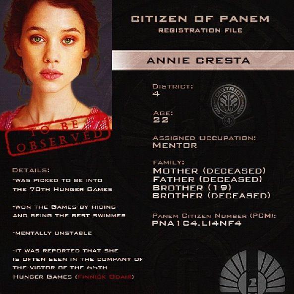 citizen of panem identity card annie cresta the hunger