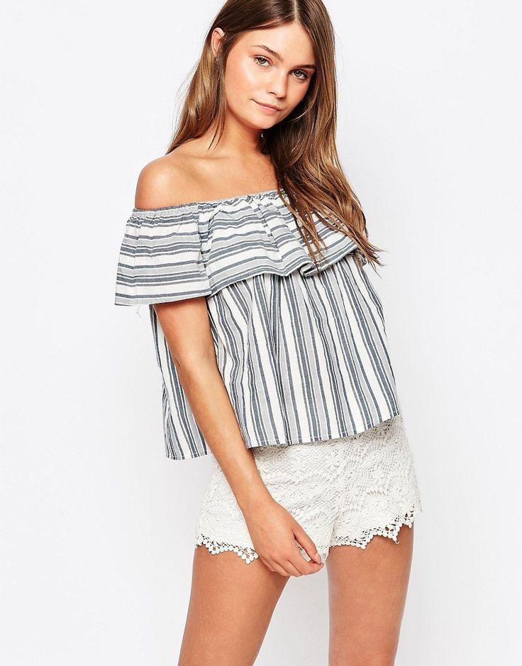 Image 1 ofNew Look Stripe Ruffle Crop Bardot Top
