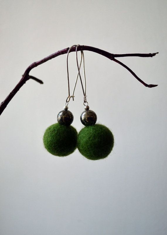 Green Earrings Green Felted Earrings Spring Summer by lyralyra, $18.00