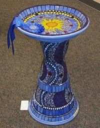 clay pot crafts birdbath -- make a bird bath – Glue together two large pots stacked on top of each other, bottom of pots touching. Mosaic. Place a large mosaic-tiled saucer on top.