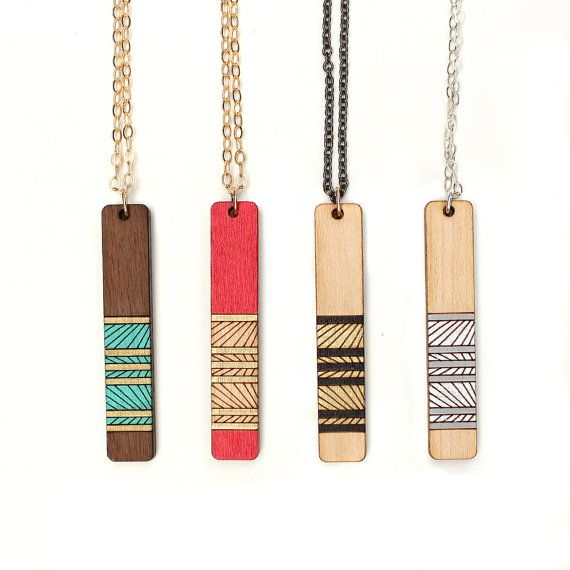 Lines Necklace, Geometric Necklace, Wooden Necklace, Long Layering Necklace, Laser Cut Necklace, Laser Cut Wood Necklace, Gifts for her