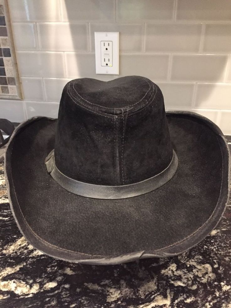 Vintage BEAVER HATS Co. Genuine Leather Men's Black Cowboy Hat Large (L) Custom  #BeaverHats #Fedora