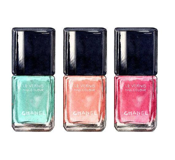 chanel nail polish illustration mint coral and pink