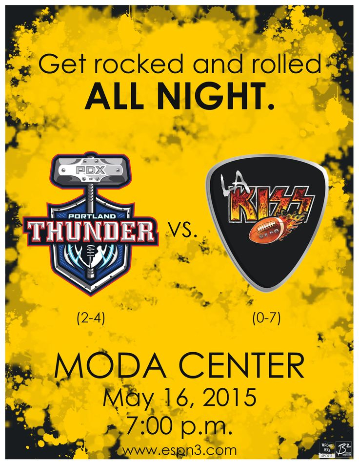 Get rocked and rolled all night. The 2-4 Portland Thunder take on the 0-7 Los Angeles KISS at the Moda Center at 7 p.m. on May 16, 2015.