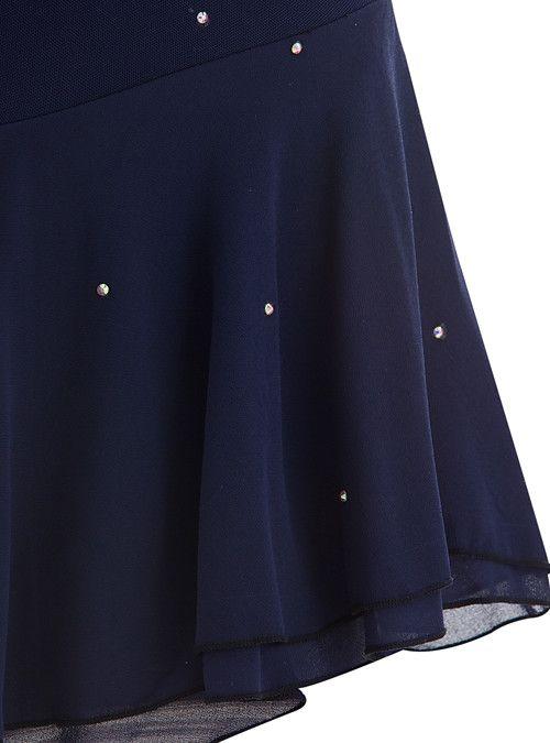 Robe de Patinage Artistique Femme Fille Patinage Robes Bleu de minuit Dos ouvert…