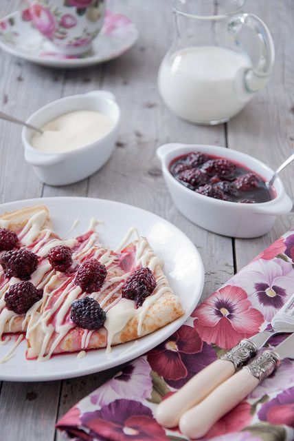 Crepes with mascarpone and blackberries by letterberry, via Flickr
