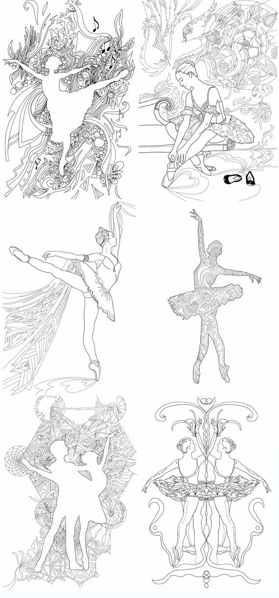 adult coloring book dance printable ballet art 18 pages digital colouring book hand drawn page for download gift for dancer print